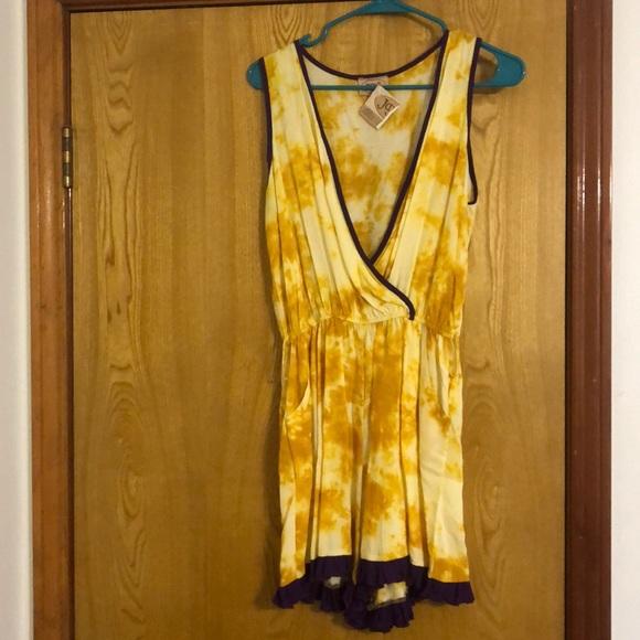 JuJu Dresses & Skirts - Juju's purple gold LSU romper ruffles beach